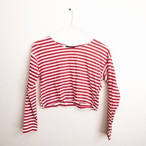 Forever21 Striped Long Sleeve Crop Tree